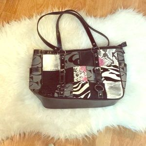 Large Zebra tote purse in black and snake